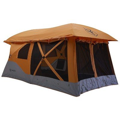 Gazelle T4 Plus Extra Large 4 to 8 Person Portable Pop Up Outdoor Shelter Camping Hub Tent with Extended Screened In Sun Room, Orange
