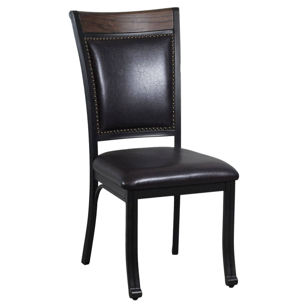 Image of Set of 2 Angelo Side Chair with Nailheads Oak/Dark Brown Faux Leather - Powell Company