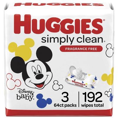 Huggies Simply Clean Unscented Baby Wipes 3 Flip-Top Packs (192ct)