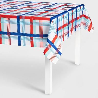"""84"""" x 60"""" Rectangluar Americana Plaid Tablecloth with Umbrella Hole - Sun Squad™"""
