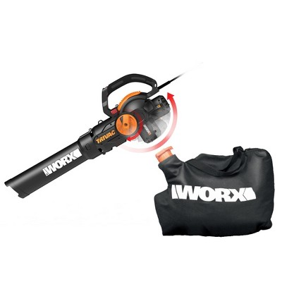Worx WG512 TRIVAC 12-Amp Electric 3-IN-1 Blower / Mulcher / Yard Vacuum with Leaf Collection System