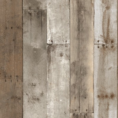 Tempaper Repurposed Weathered Wood Self Adhesive Removable Wallpaper