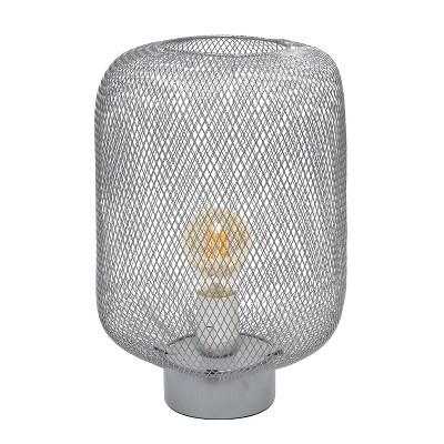 Metal Mesh Industrial Table Lamp Gray - Simple Designs