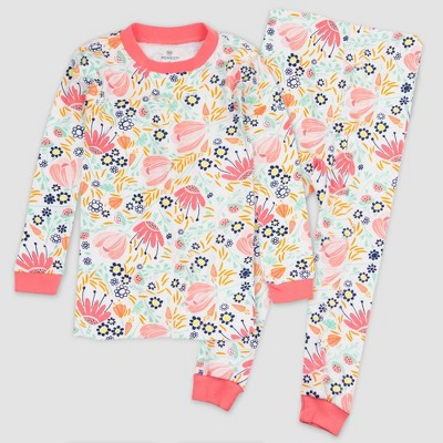 Honest Baby Girls' 2pc Flower Power Organic Cotton Pajama Set - 12M