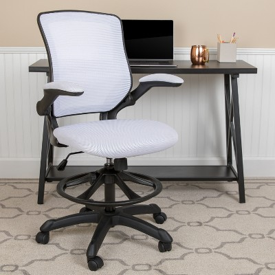Flash Furniture Mid-Back Mesh Ergonomic Drafting Chair with Adjustable Foot Ring and Flip-Up Arms