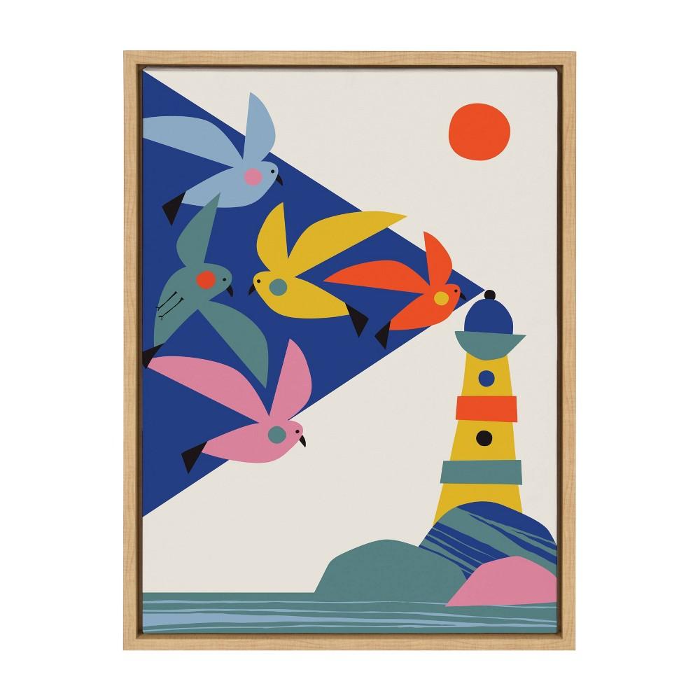 18 34 X 24 34 Sylvie Lighthouse Birds Framed Canvas Wall Art By Rachel Lee Natural Kate And Laurel