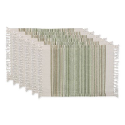 6pk Cotton Striped Fringe Placemats Green - Design Imports