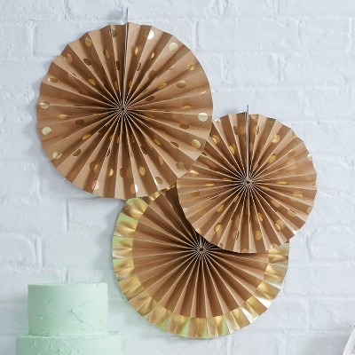 3ct Foil And Kraft Fan Decoration Gold