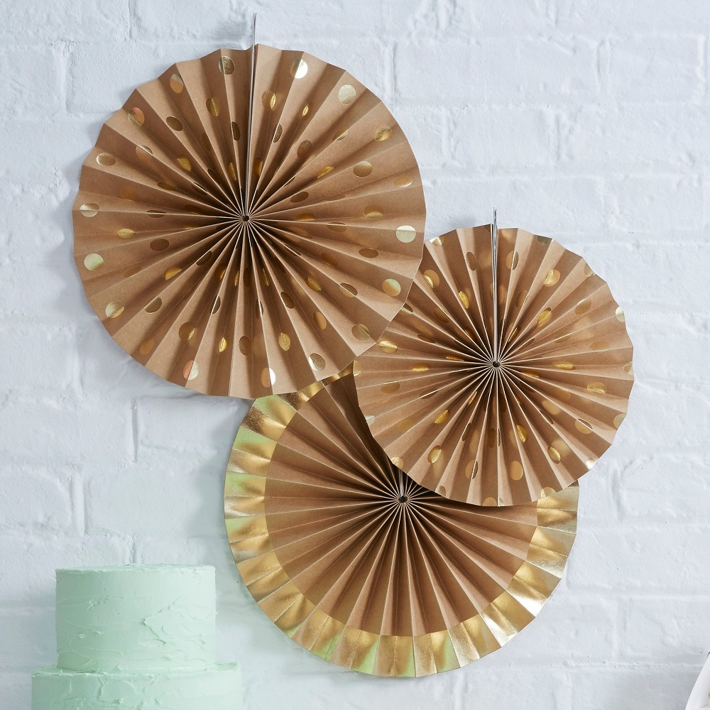 Image of 3ct Foil And Kraft Fan Decoration Gold