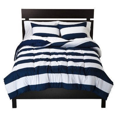 Blue & White Rugby Stripe Comforter (King)- Room Essentials™