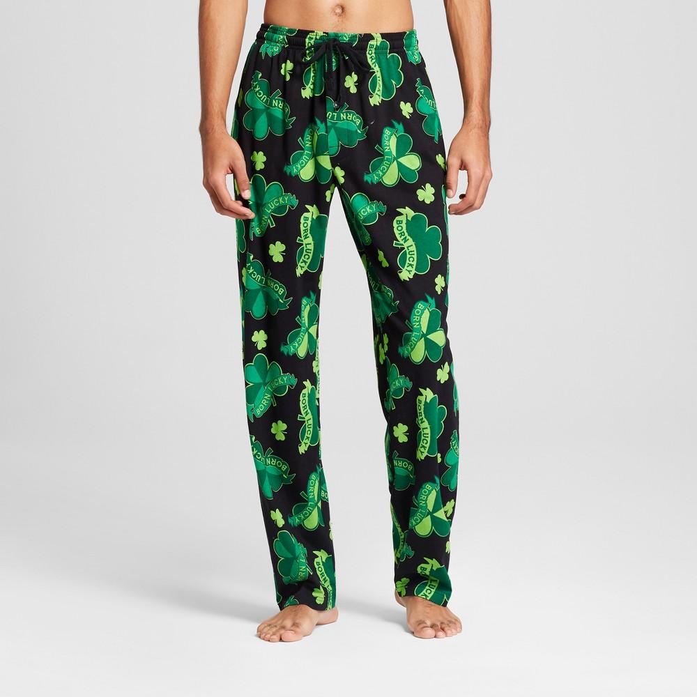 Men's St. Patrick Day Pajama Pants - Green/Black XL