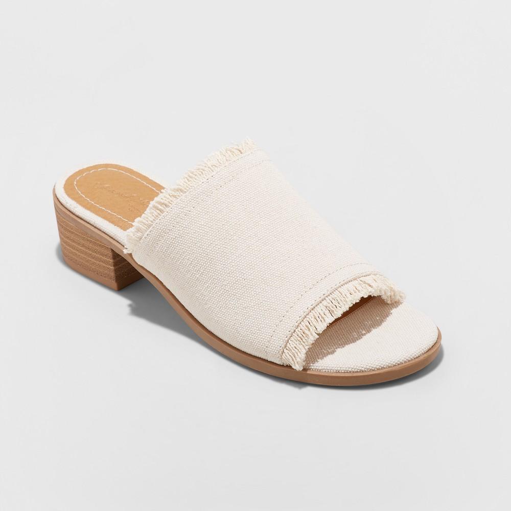 Women's Dion Raw Edge Ankle Strap Sandals - Universal Thread Cream (Ivory) 6.5