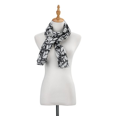 DEMDACO DS Rectangle Scarf - Butterfly Wings 70 x 21 - Black