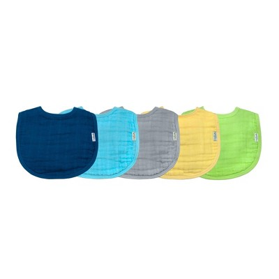 green sprouts Organic Cotton Muslin Bibs 5pk - Blue