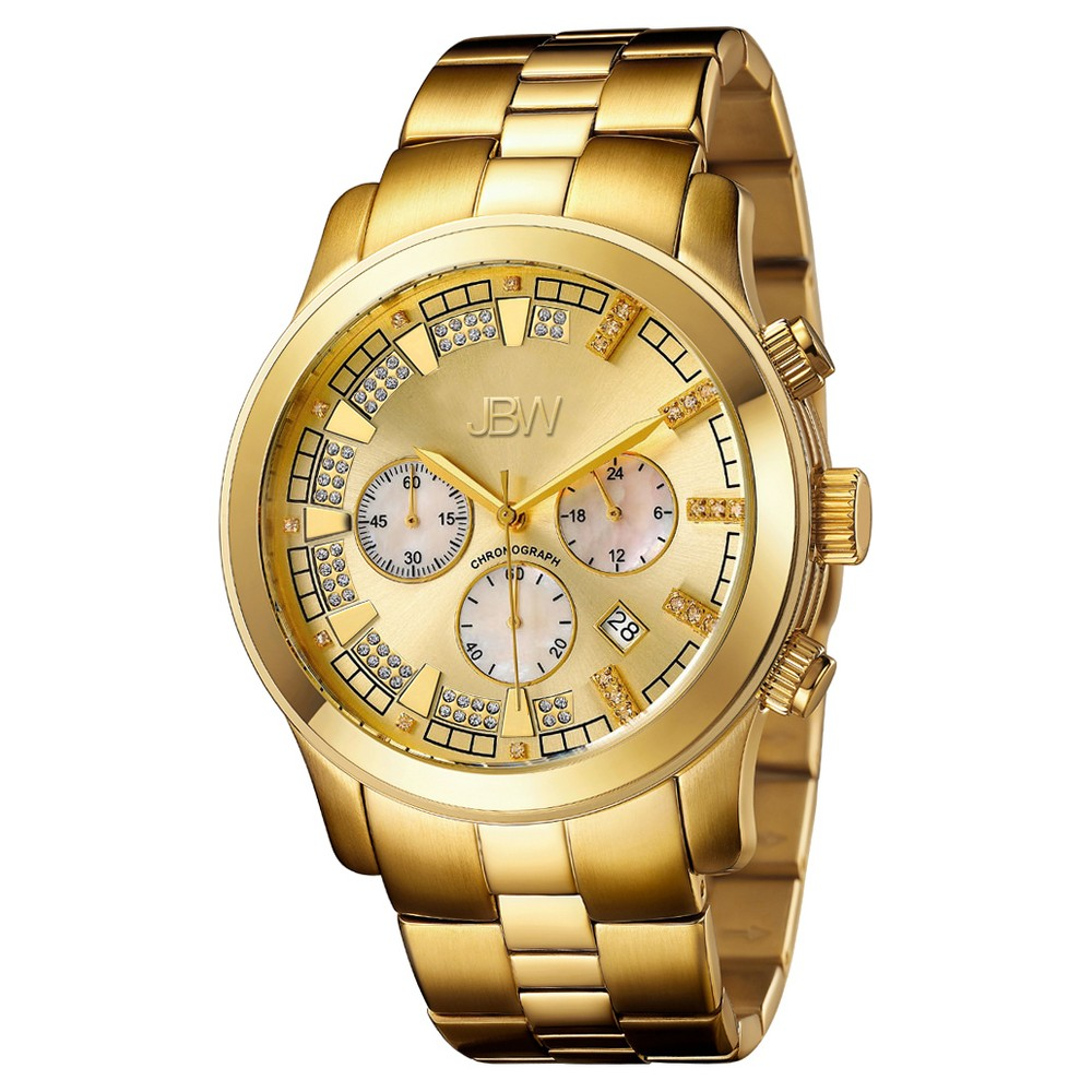 Image of Men's JBW JB-6218-E Delano Japanese Movement Stainless Steel Real Diamond Watch - Gold, Men's, Size: Small, Pharoah Gold