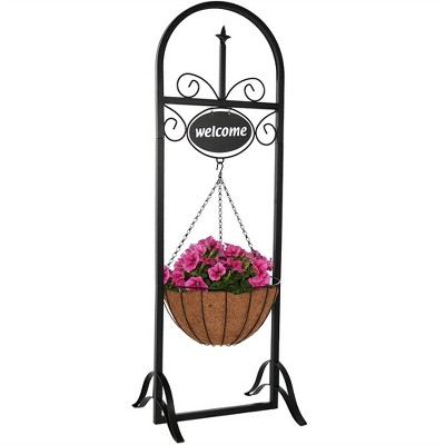 48  Iron Hanging Basket Planter Stand with Welcome Sign - Black - Sunnydaze Decor