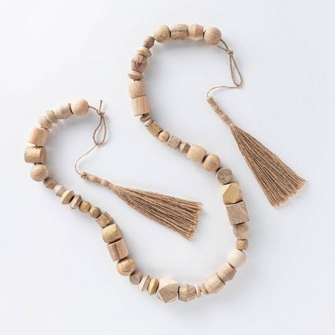 "96"" Decorative Wooden Bead Garland Natural - Threshold™ designed with Studio McGee - image 1 of 4"