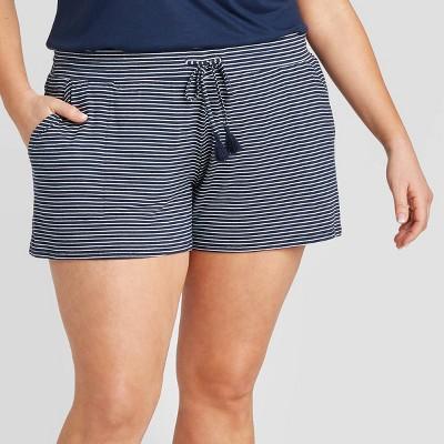 Women's Plus Size Striped Beautifully Soft Pajama Shorts - Stars Above™ Navy 3X