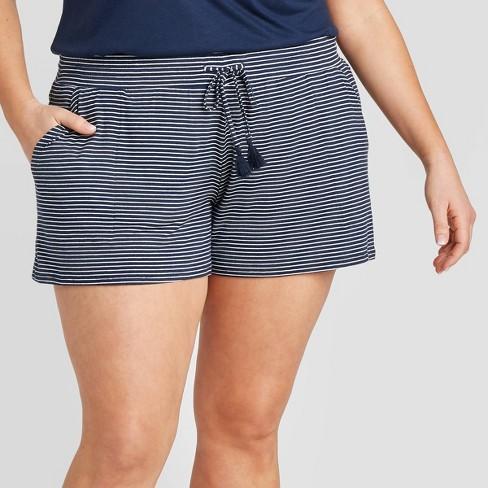 Women's Plus Size Striped Beautifully Soft Pajama Shorts - Stars Above™ Navy - image 1 of 2