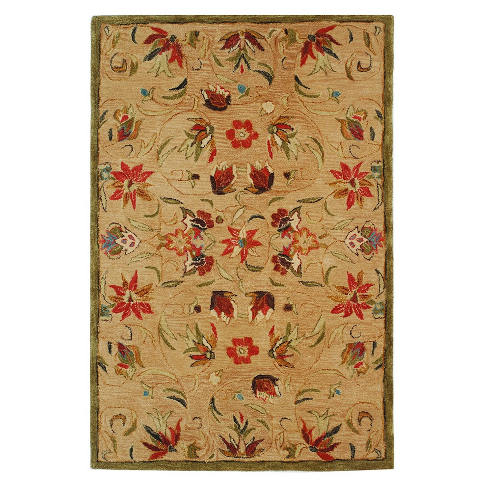 Green Floral Tufted Area Rug 6'X9' - Safavieh, Beige Green