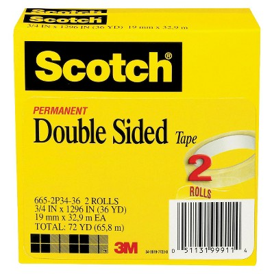 "Scotch 2pk 3/4"" x 36yd Double Sided Tape 3"" Core"