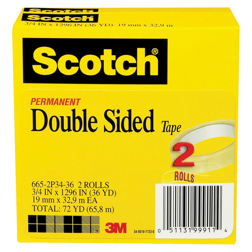Scotch 3/4 x 1296, 3 Core, Double Sided Tape - 2 Per Pack, Clear
