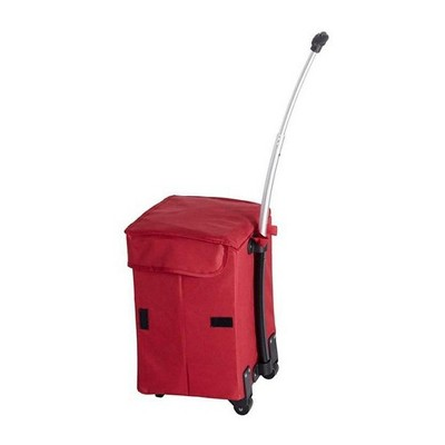 dbest products Smart Cart Collapsible Rolling Utility Basket for Laundry, Shopping, Travel, Cleaning Supplies, w/Telescoping Handle, Red