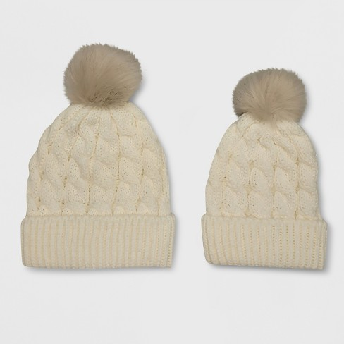 1c570057f Toddler Girls' 2pc Mommy & Me Knitted Beanie - Cat & Jack™ Cream