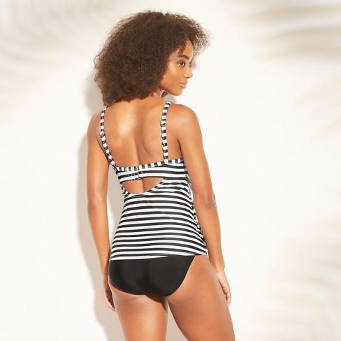 31a195b431f78 Women's Twist Front Tankini - Kona Sol™ Black/White Stripe 38DDD : Target