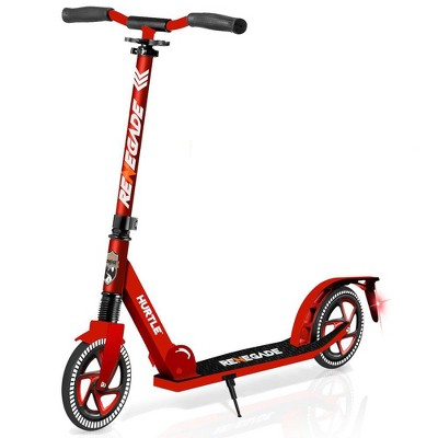 Hurtle Renegade HURTSRD.5 Lightweight Foldable Teen and Adult Adjustable Ride On 2 Wheel Transportation Commuter Kick Scooter, Red