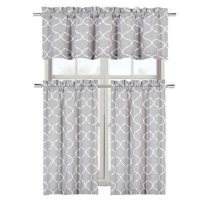 Kate Aurora Shabby Lattice Cotton Blend Kitchen Curtain Tier & Valance Set