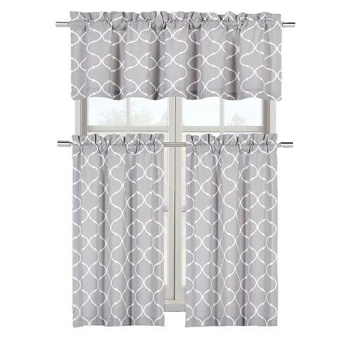 Kate Aurora Shabby Lattice Cotton Blend Kitchen Curtain Tier & Valance Set - image 1 of 1