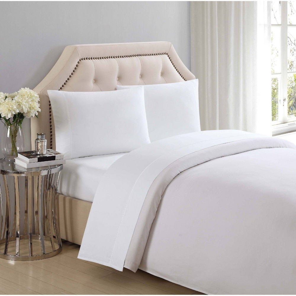 Image of California King 310 Thread Count Solid Cotton Sheet Set Bright White - Charisma
