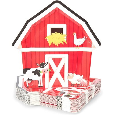 Blue Panda 48 Pcs Farm House Disposable Party Paper Plates Barnyard Animal Birthday Supplies Baby Shower