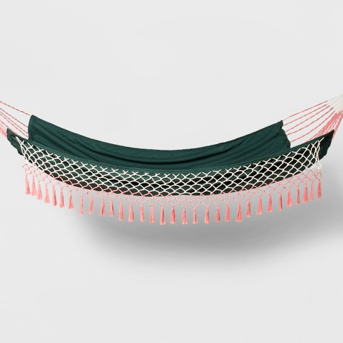 Flat Weave Macrame Fringe Hammock Green/Pink - Opalhouse™ - image 1 of 6