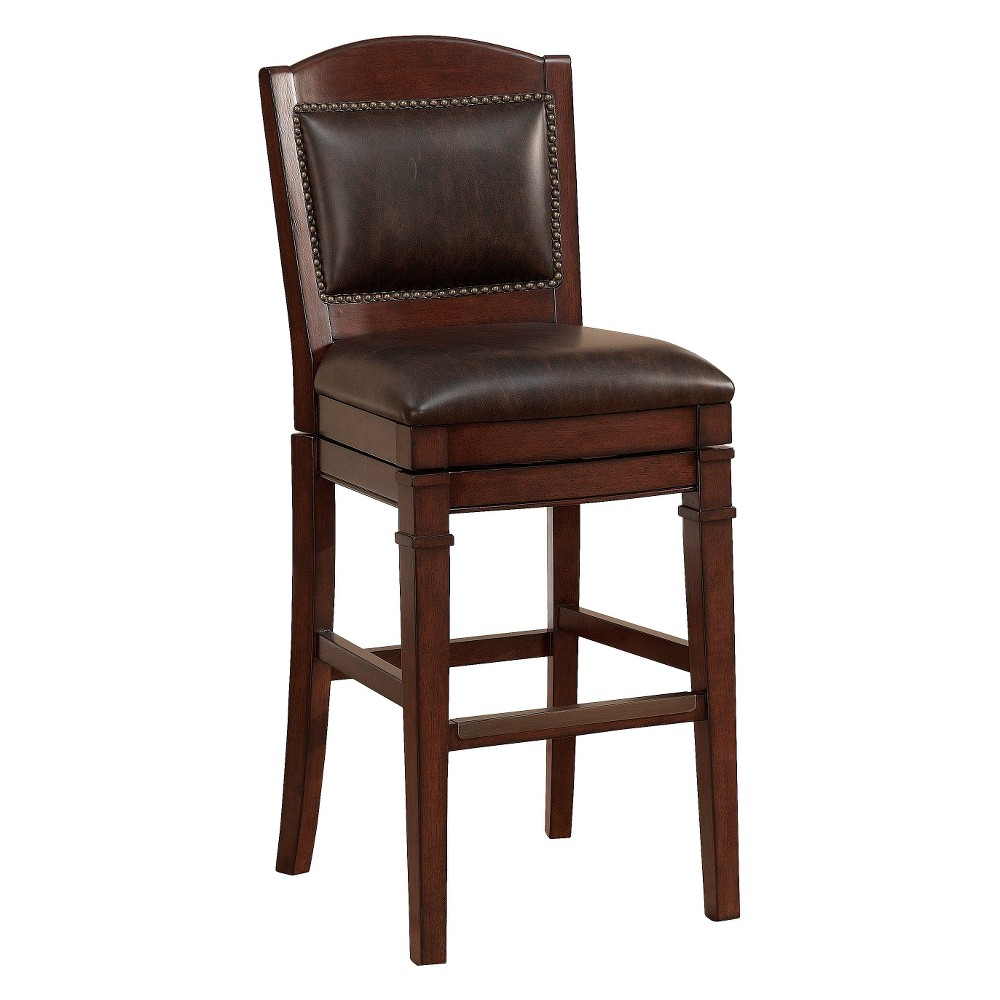 26 Artesian Swivel Bonded Leather Counter Stool - Tribal Finish/Tobacco, Brown