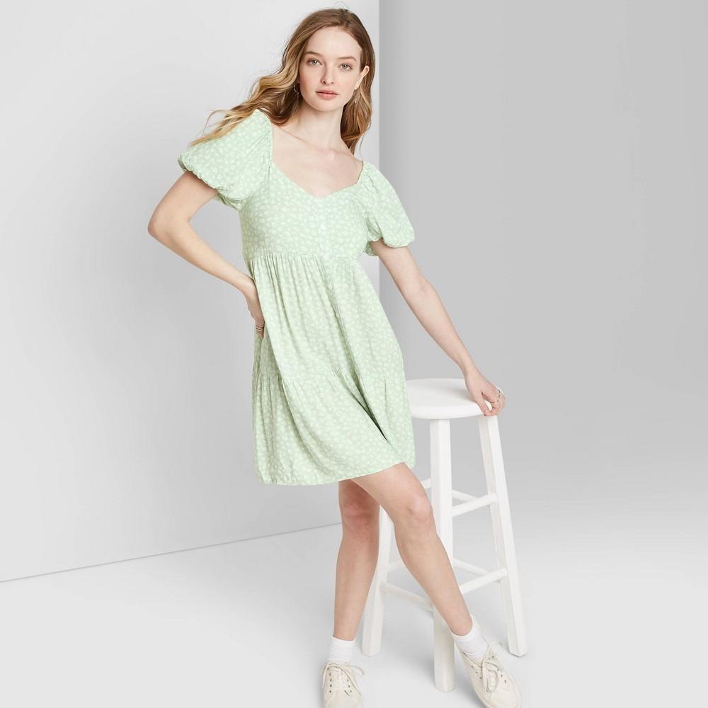 Image of Women's Floral Print Puff Short Sleeve V-Neck Babydoll Mini Dress - Wild Fable Green M, Women's, Size: Medium