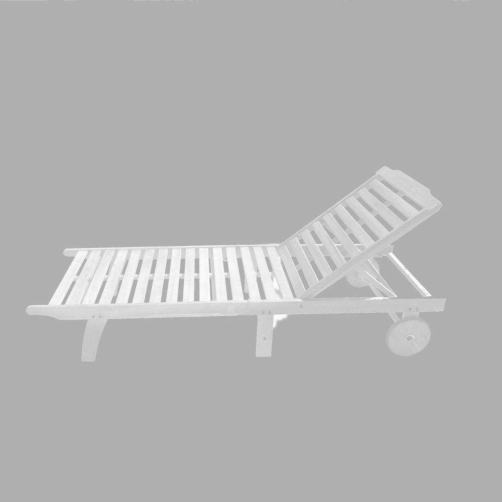 Bradley Outdoor Patio Wood Folding Sunbathing Chaise Lounge, True White