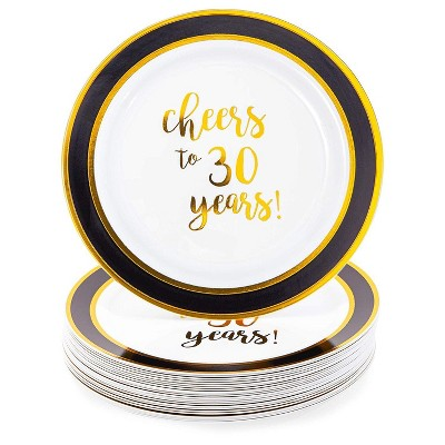 """Juvale 30th Birthday Cheers to 30 Years 24-Pack Disposable Plastic Plate 9"""" Party Supplies"""