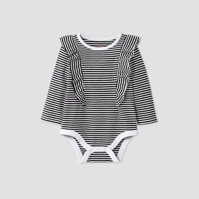 Baby Girls' Striped Long Sleeve Ruffle Bodysuit - Cat & Jack™ Charcoal Gray 3-6M