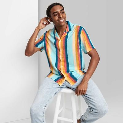 Men's Painted Striped Print Button-Down Shirt - Original Use™ Aqua/Stripe