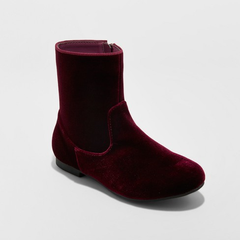 Girls' Paris Velvet Fashion Boots - art class™ Burgundy - image 1 of 3