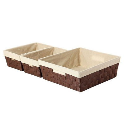 Woven Storage Baskets - 3-Piece Nesting Baskets Set, Strap Storage Tote for Shelf, Kitchen, Bathroom - Small, Medium, and Large - Brown and Beige