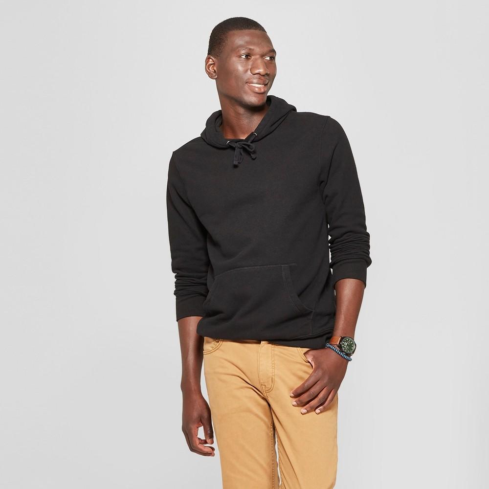 Men's Standard Fit Long Sleeve Fleece Hooded Sweatshirt - Goodfellow & Co Black L