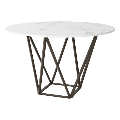 """Modern 51"""" Round Dining Table Stone Antique Brass - ZM Home"""