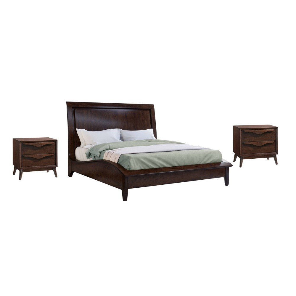 Image of 3pc Adelaide Solid Wood Mid Century King Bedroom Set Brown - Abbyson Living