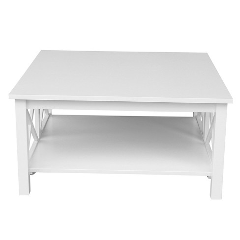 Hampton Square Coffee Table White International Concepts