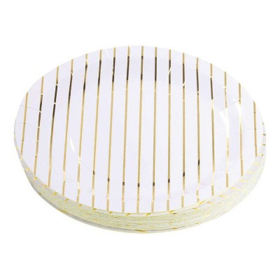"""Juvale 48-Pack Metallic Gold Foil Striped Disposable Paper Plate 9"""" Wedding Bridal Shower Party Supplies"""
