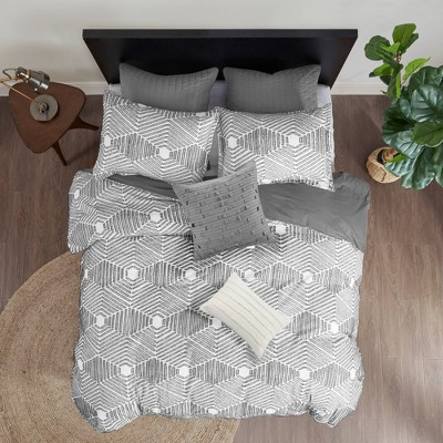 3pc Full/Queen Ellipse Cotton Jacquard Comforter Set Gray