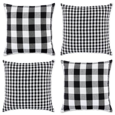 """4pk 18""""x18"""" Gingham Buffalo Check Assorted Square Throw Pillow Covers Black/White - Design Imports"""
